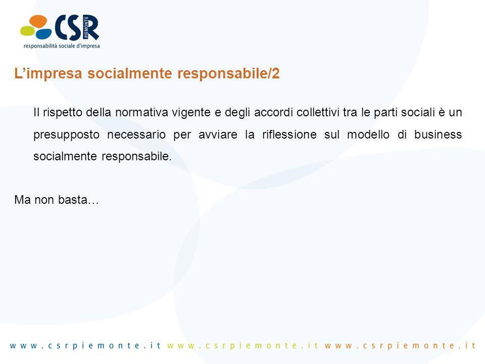 L'impresa socialmente responsabile/2 Il rispetto della normativa vigente e degli accordi collettivi tra le parti sociali è un presupposto necessario p
