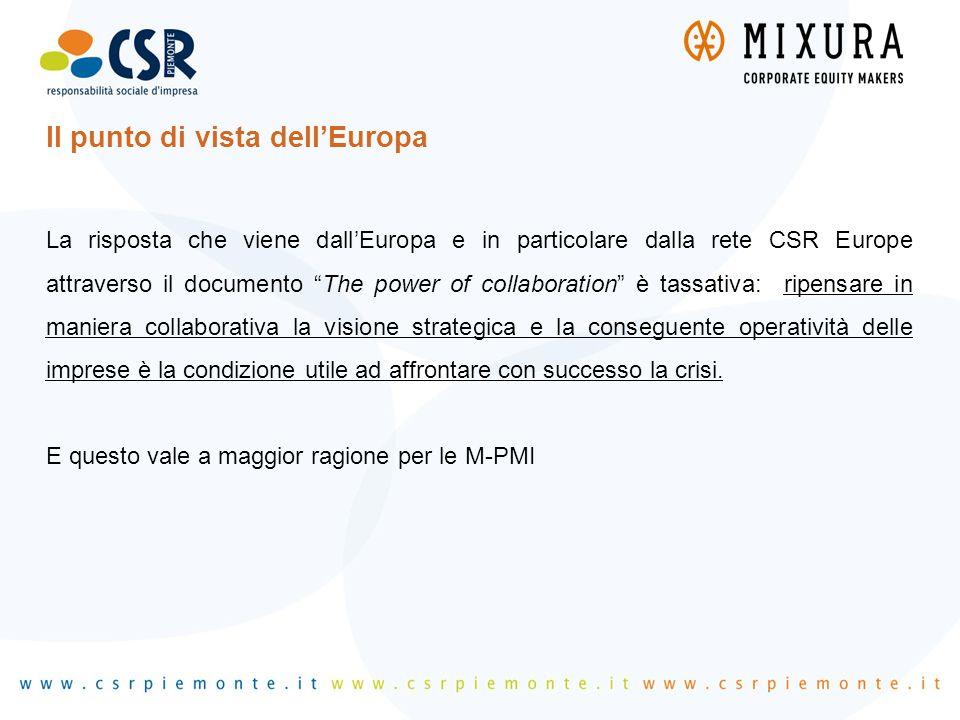 """Il punto di vista dell'Europa La risposta che viene dall'Europa e in particolare dalla rete CSR Europe attraverso il documento """"The power of collabora"""