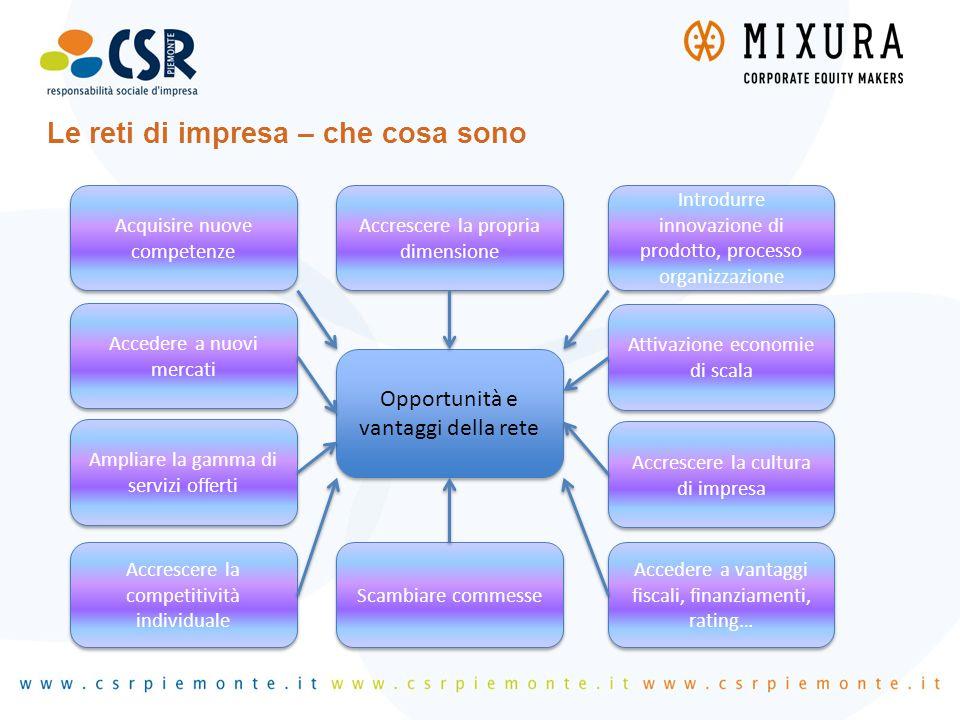 Le reti di impresa – che cosa sono Opportunità e vantaggi della rete Accrescere la propria dimensione Acquisire nuove competenze Introdurre innovazion