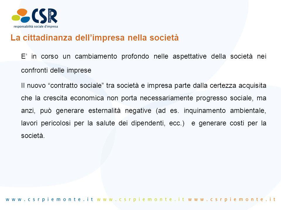 """La cittadinanza dell'impresa nella società E' in corso un cambiamento profondo nelle aspettative della società nei confronti delle imprese Il nuovo """"c"""