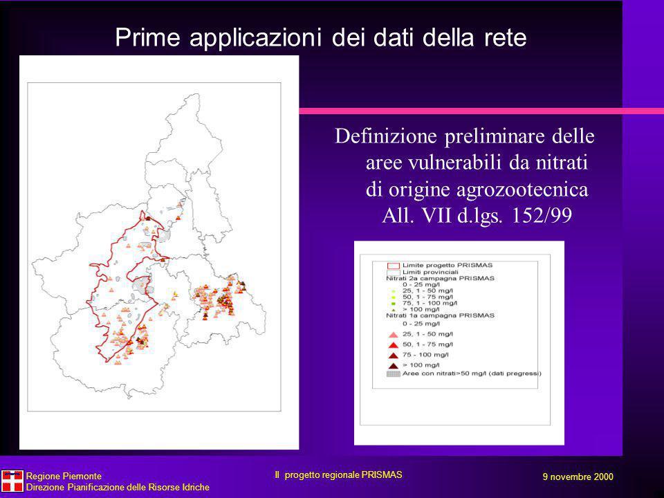 Prime applicazioni dei dati della rete Definizione preliminare delle aree vulnerabili da nitrati di origine agrozootecnica All.