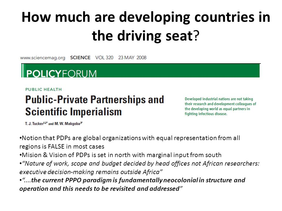 How much are developing countries in the driving seat.