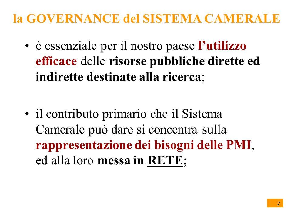 2 la GOVERNANCE del SISTEMA CAMERALE è essenziale per il nostro paese l'utilizzo efficace delle risorse pubbliche dirette ed indirette destinate alla