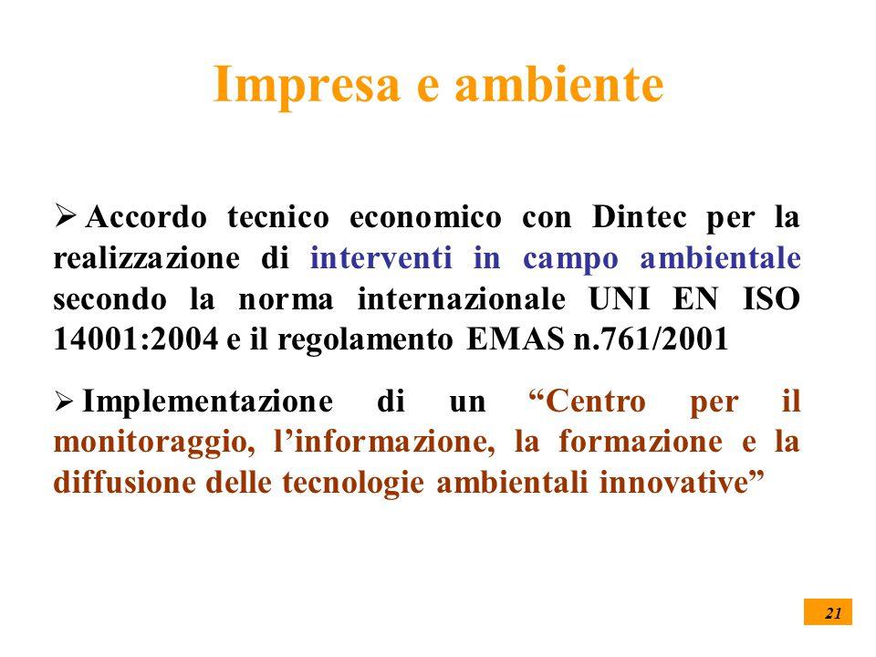 21 Impresa e ambiente  Accordo tecnico economico con Dintec per la realizzazione di interventi in campo ambientale secondo la norma internazionale UN