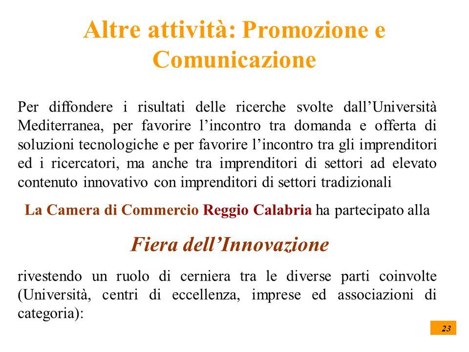 23 Altre attività: Promozione e Comunicazione Per diffondere i risultati delle ricerche svolte dall'Università Mediterranea, per favorire l'incontro tra domanda e offerta di soluzioni tecnologiche e per favorire l'incontro tra gli imprenditori ed i ricercatori, ma anche tra imprenditori di settori ad elevato contenuto innovativo con imprenditori di settori tradizionali La Camera di Commercio Reggio Calabria ha partecipato alla Fiera dell'Innovazione rivestendo un ruolo di cerniera tra le diverse parti coinvolte (Università, centri di eccellenza, imprese ed associazioni di categoria):