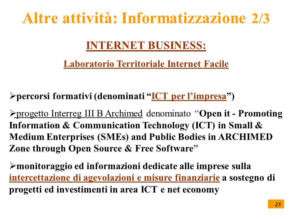 """25 Altre attività: Informatizzazione 2/3 INTERNET BUSINESS: Laboratorio Territoriale Internet Facile  percorsi formativi (denominati """"ICT per l'impre"""