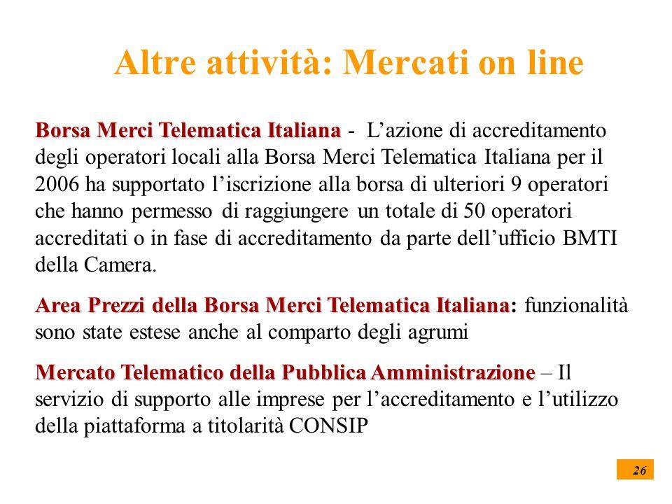 26 Altre attività: Mercati on line Borsa Merci Telematica Italiana Borsa Merci Telematica Italiana - L'azione di accreditamento degli operatori locali