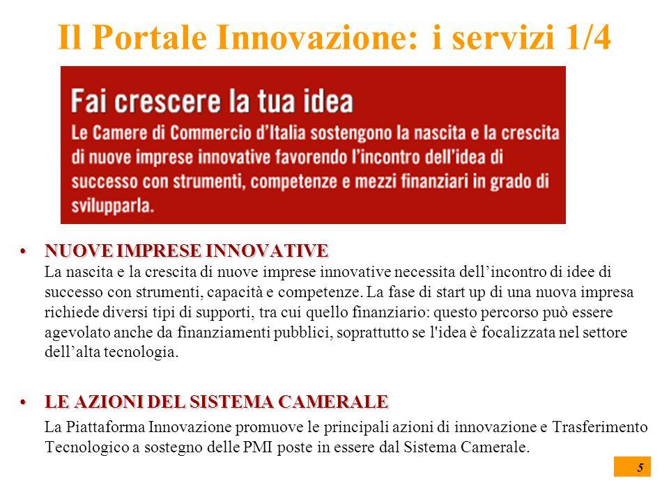5 Il Portale Innovazione: i servizi 1/4 NUOVE IMPRESE INNOVATIVENUOVE IMPRESE INNOVATIVE La nascita e la crescita di nuove imprese innovative necessit