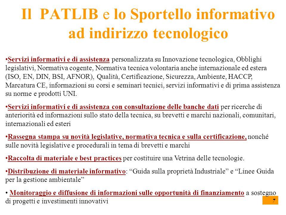 7 Il PATLIB e lo Sportello informativo ad indirizzo tecnologico Servizi informativi e di assistenza personalizzata su Innovazione tecnologica, Obbligh