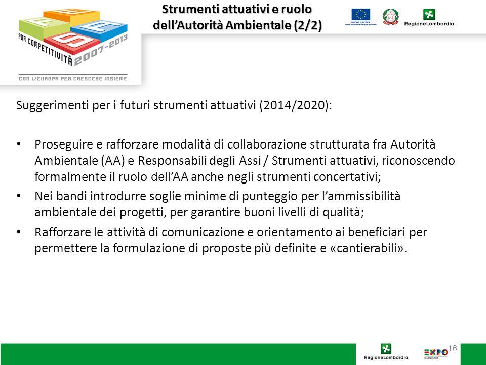 16 Strumenti attuativi e ruolo dell'Autorità Ambientale (2/2) Suggerimenti per i futuri strumenti attuativi (2014/2020): Proseguire e rafforzare modalità di collaborazione strutturata fra Autorità Ambientale (AA) e Responsabili degli Assi / Strumenti attuativi, riconoscendo formalmente il ruolo dell'AA anche negli strumenti concertativi; Nei bandi introdurre soglie minime di punteggio per l'ammissibilità ambientale dei progetti, per garantire buoni livelli di qualità; Rafforzare le attività di comunicazione e orientamento ai beneficiari per permettere la formulazione di proposte più definite e «cantierabili».