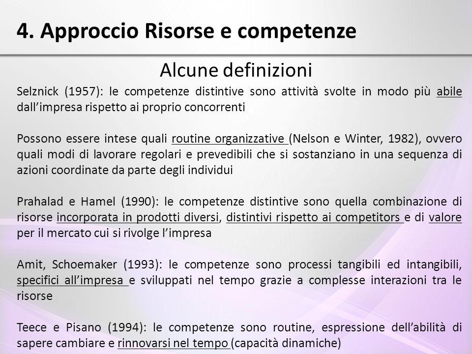 4. Approccio Risorse e competenze Alcune definizioni Selznick (1957): le competenze distintive sono attività svolte in modo più abile dall'impresa ris