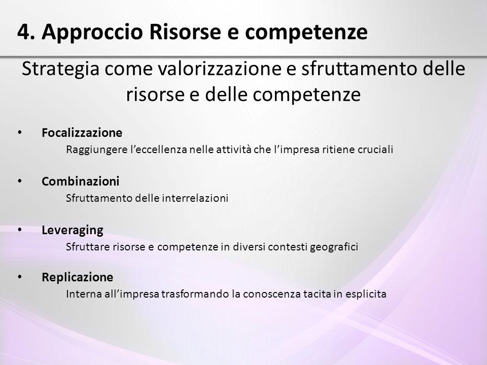 4. Approccio Risorse e competenze Strategia come valorizzazione e sfruttamento delle risorse e delle competenze Focalizzazione Raggiungere l'eccellenz