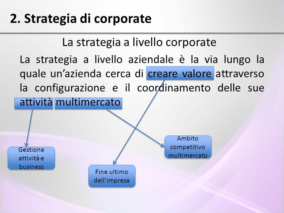 2. Strategia di corporate La strategia a livello corporate La strategia a livello aziendale è la via lungo la quale un'azienda cerca di creare valore