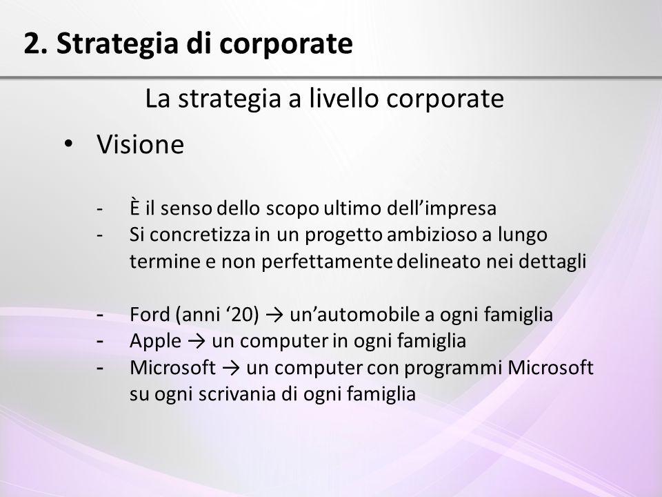 2. Strategia di corporate La strategia a livello corporate Visione - È il senso dello scopo ultimo dell'impresa - Si concretizza in un progetto ambizi