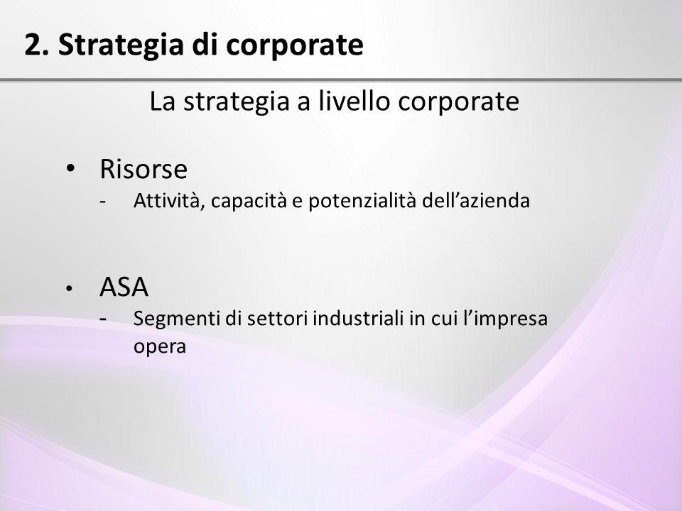 2. Strategia di corporate La strategia a livello corporate Risorse - Attività, capacità e potenzialità dell'azienda ASA - Segmenti di settori industri