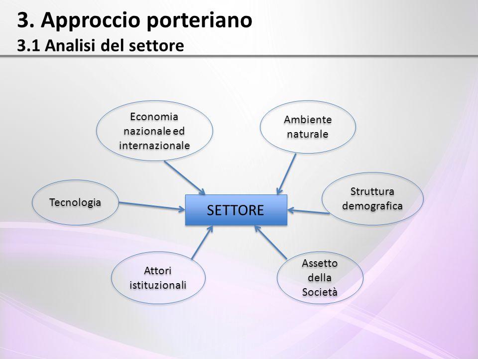 3. Approccio porteriano 3.1 Analisi del settore SETTORE Economia nazionale ed internazionale Ambiente naturale Struttura demografica Assetto della Soc