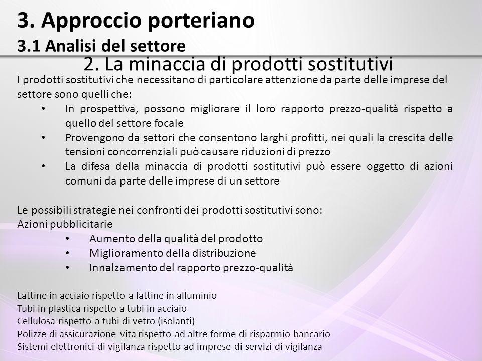 3. Approccio porteriano 3.1 Analisi del settore 2. La minaccia di prodotti sostitutivi I prodotti sostitutivi che necessitano di particolare attenzion
