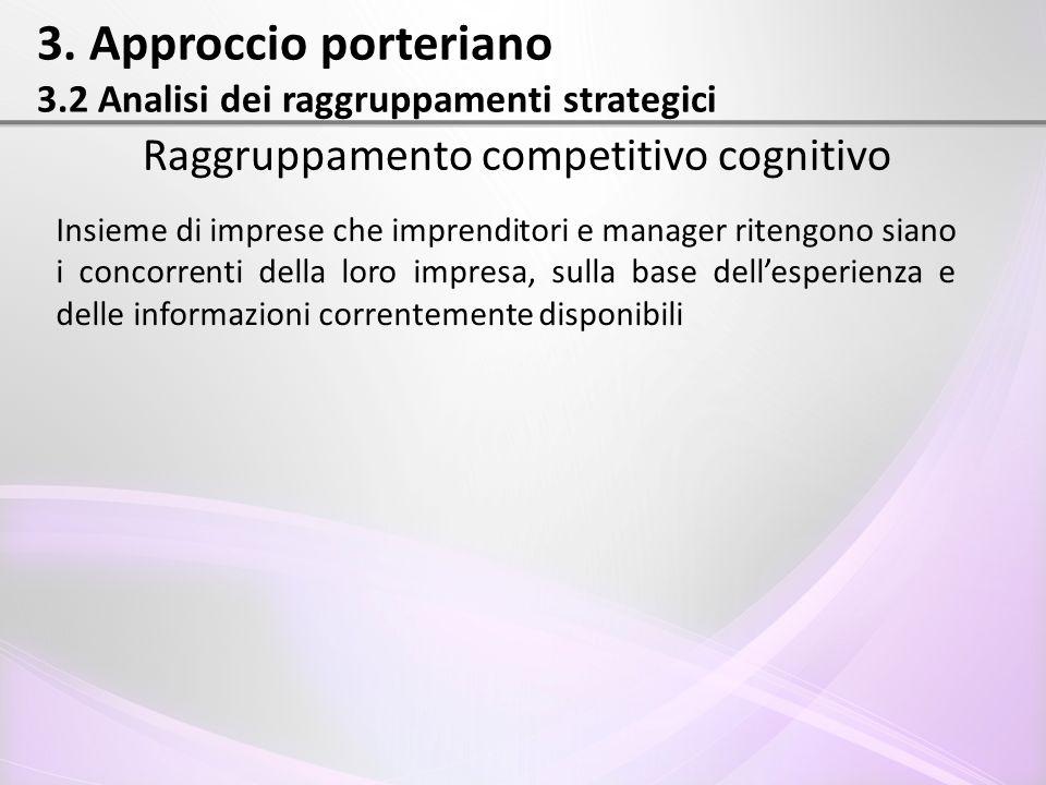 3. Approccio porteriano 3.2 Analisi dei raggruppamenti strategici Raggruppamento competitivo cognitivo Insieme di imprese che imprenditori e manager r