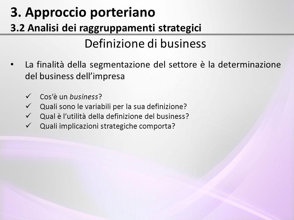 3. Approccio porteriano 3.2 Analisi dei raggruppamenti strategici Definizione di business La finalità della segmentazione del settore è la determinazi