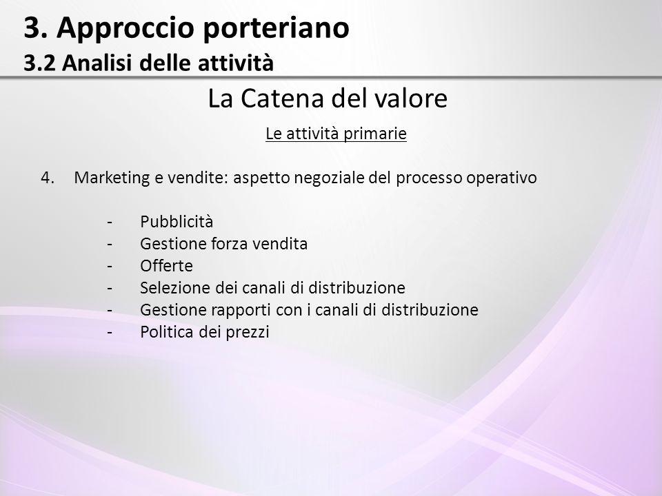 3. Approccio porteriano 3.2 Analisi delle attività La Catena del valore Le attività primarie 4.Marketing e vendite: aspetto negoziale del processo ope
