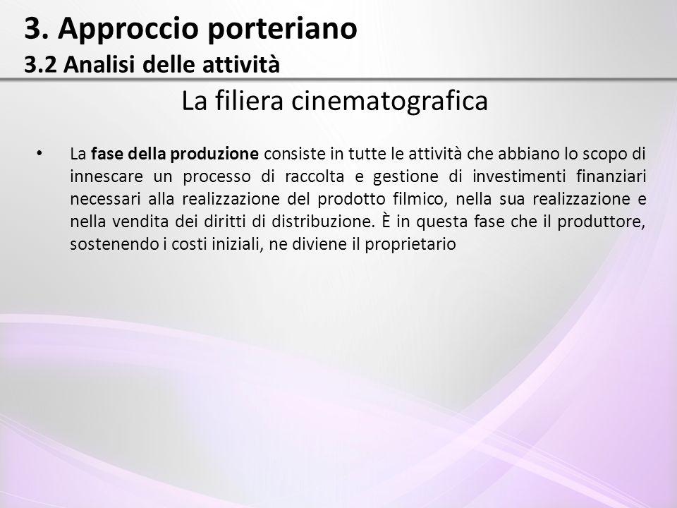 3. Approccio porteriano 3.2 Analisi delle attività La filiera cinematografica La fase della produzione consiste in tutte le attività che abbiano lo sc