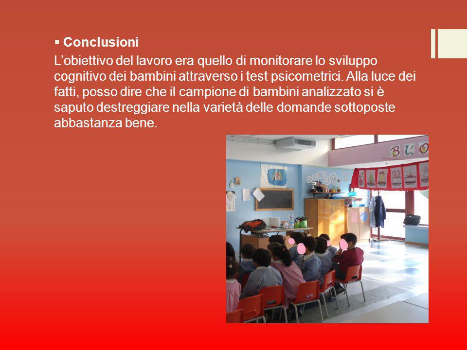  Conclusioni L'obiettivo del lavoro era quello di monitorare lo sviluppo cognitivo dei bambini attraverso i test psicometrici. Alla luce dei fatti, p