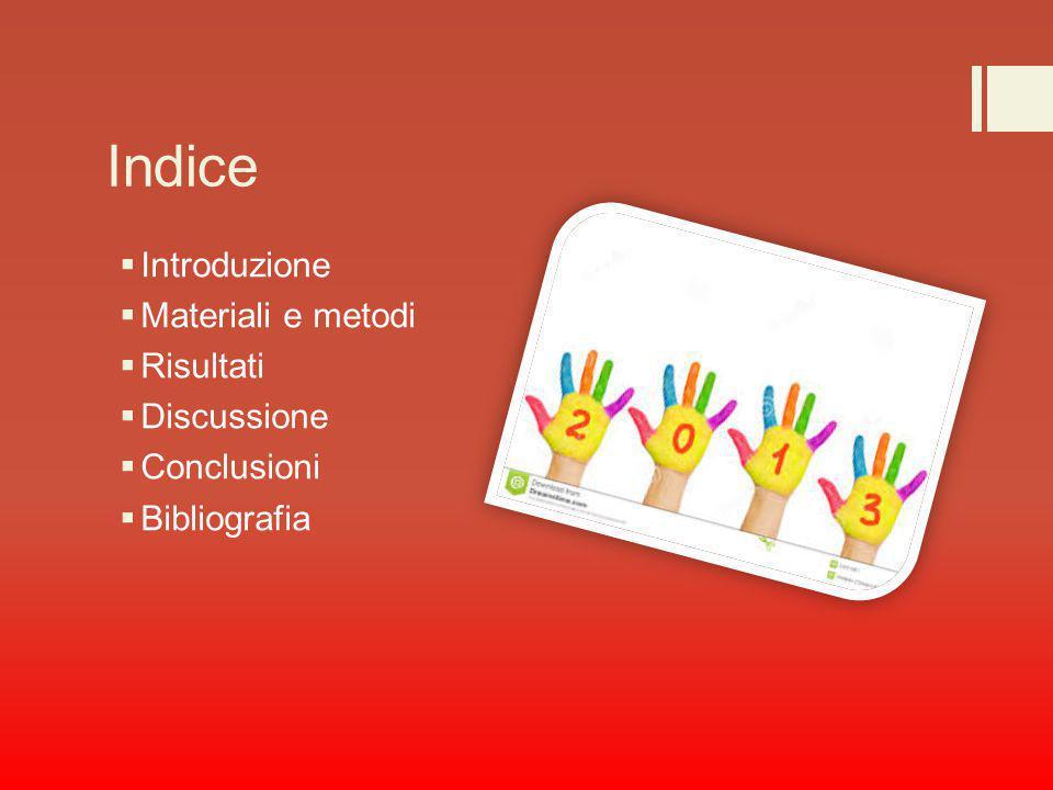 Indice  Introduzione  Materiali e metodi  Risultati  Discussione  Conclusioni  Bibliografia