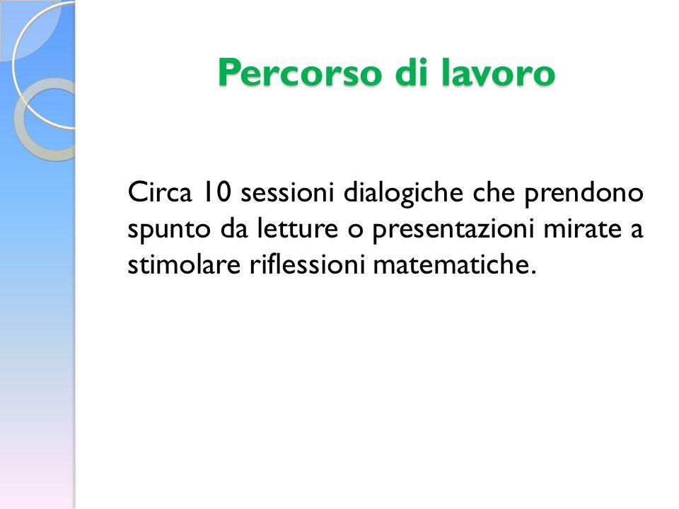 Percorso di lavoro Circa 10 sessioni dialogiche che prendono spunto da letture o presentazioni mirate a stimolare riflessioni matematiche.