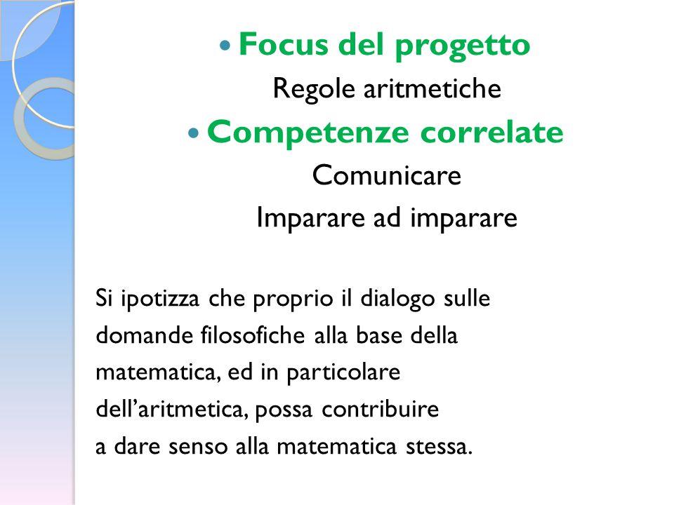 Focus del progetto Regole aritmetiche Competenze correlate Comunicare Imparare ad imparare Si ipotizza che proprio il dialogo sulle domande filosofiche alla base della matematica, ed in particolare dell'aritmetica, possa contribuire a dare senso alla matematica stessa.