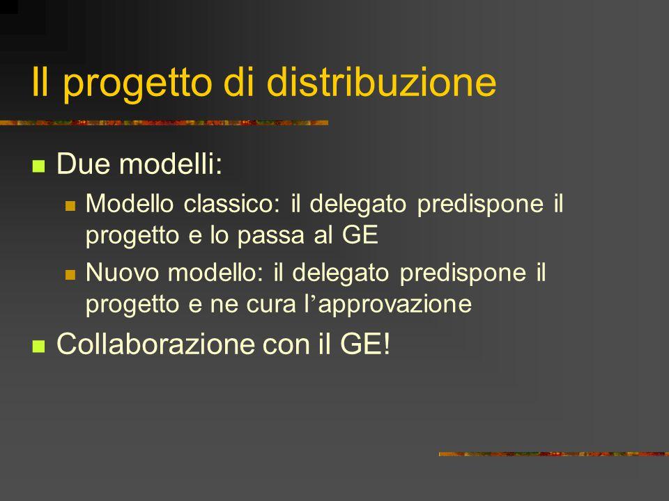 Il progetto di distribuzione Due modelli: Modello classico: il delegato predispone il progetto e lo passa al GE Nuovo modello: il delegato predispone
