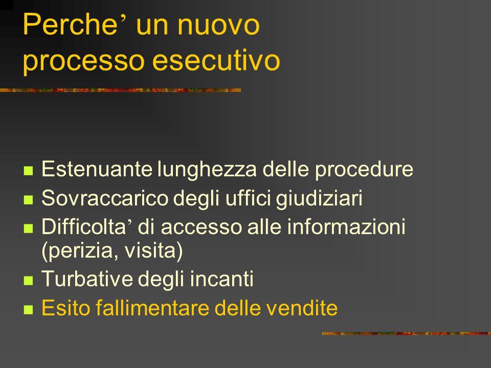 Perche ' un nuovo processo esecutivo Estenuante lunghezza delle procedure Sovraccarico degli uffici giudiziari Difficolta ' di accesso alle informazio