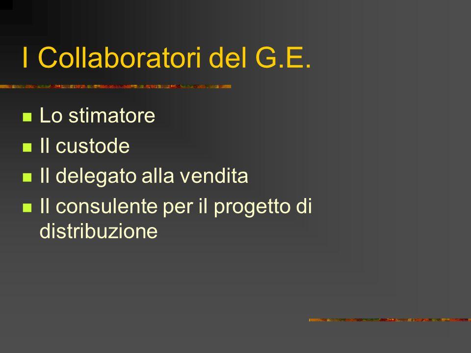 I Collaboratori del G.E. Lo stimatore Il custode Il delegato alla vendita Il consulente per il progetto di distribuzione