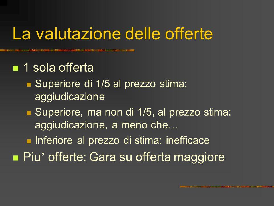 La valutazione delle offerte 1 sola offerta Superiore di 1/5 al prezzo stima: aggiudicazione Superiore, ma non di 1/5, al prezzo stima: aggiudicazione