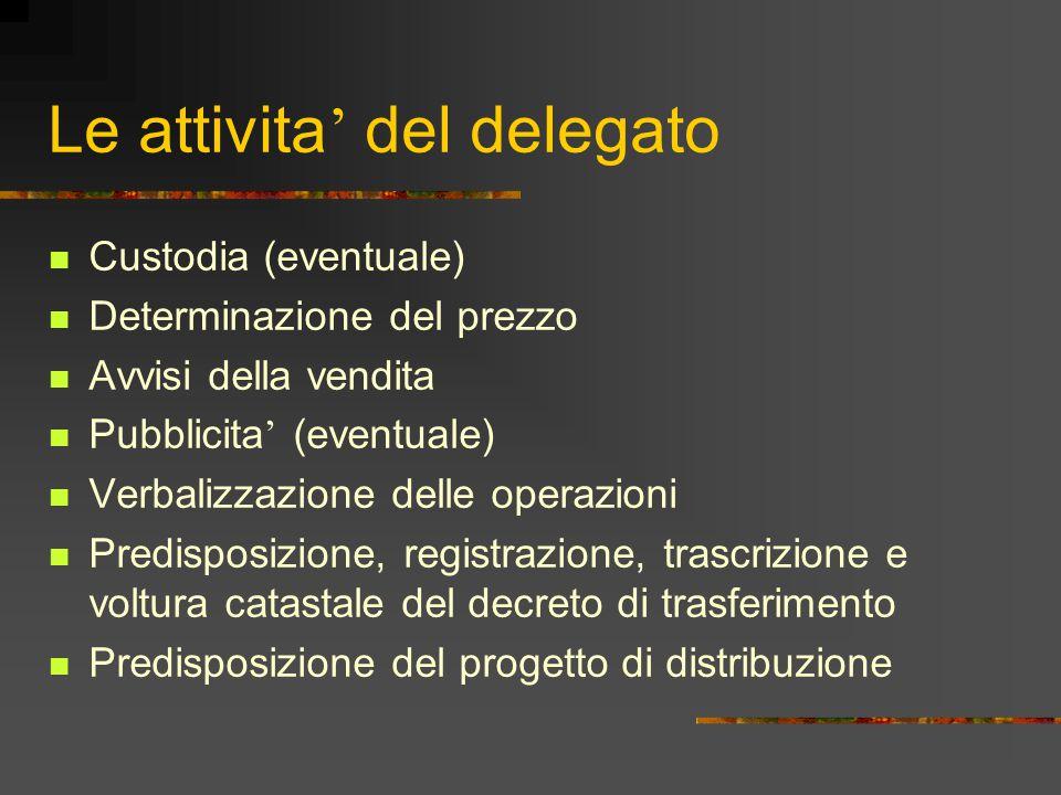 Le attivita ' del delegato Custodia (eventuale) Determinazione del prezzo Avvisi della vendita Pubblicita ' (eventuale) Verbalizzazione delle operazio