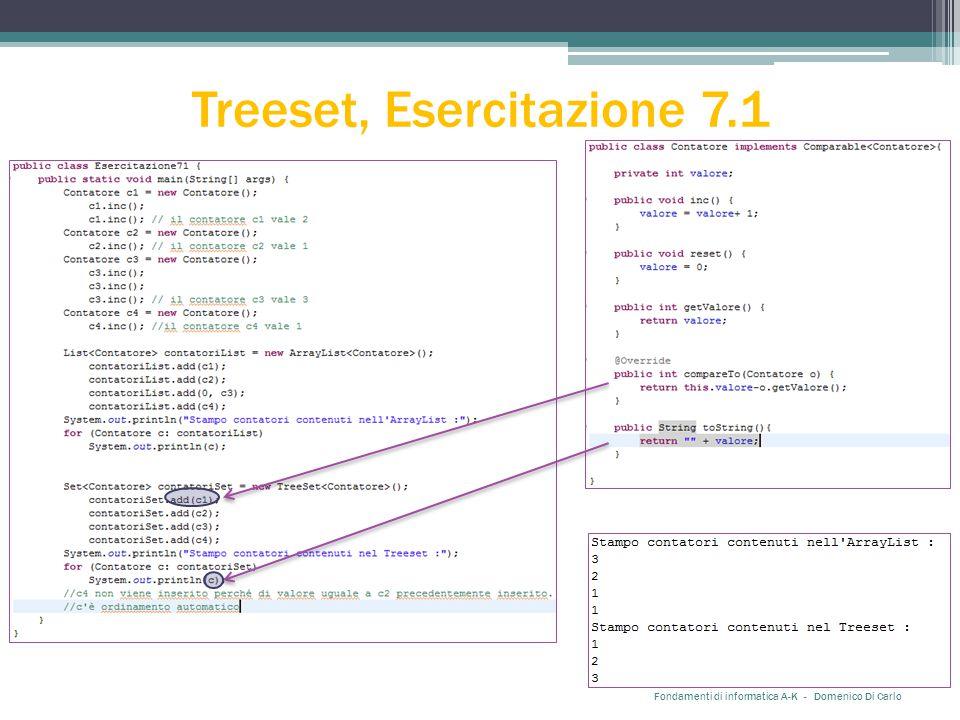 Treeset, Esercitazione 7.1 Fondamenti di informatica A-K - Domenico Di Carlo
