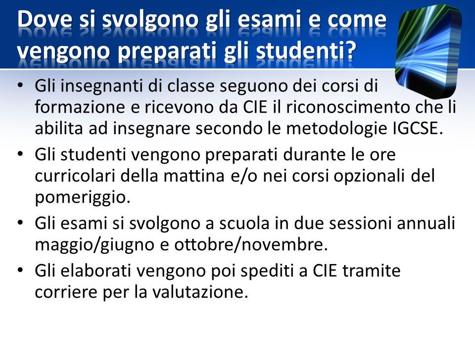 Gli insegnanti di classe seguono dei corsi di formazione e ricevono da CIE il riconoscimento che li abilita ad insegnare secondo le metodologie IGCSE.