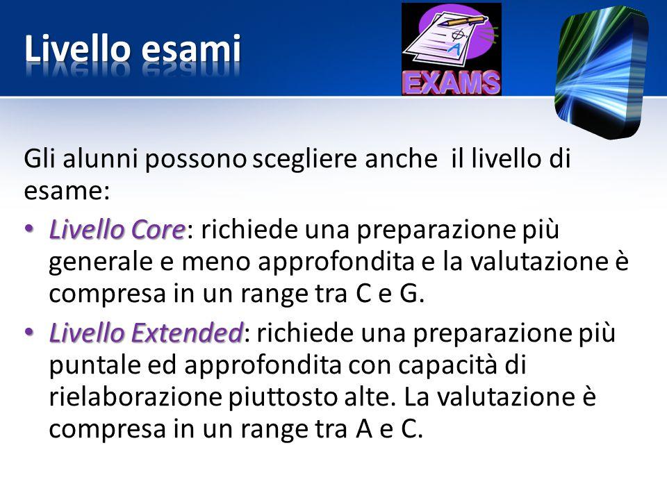 Gli alunni possono scegliere anche il livello di esame: Livello Core Livello Core: richiede una preparazione più generale e meno approfondita e la val