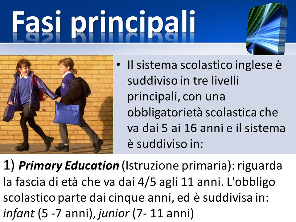 1) Primary Education (Istruzione primaria): riguarda la fascia di età che va dai 4/5 agli 11 anni. L'obbligo scolastico parte dai cinque anni, ed è su