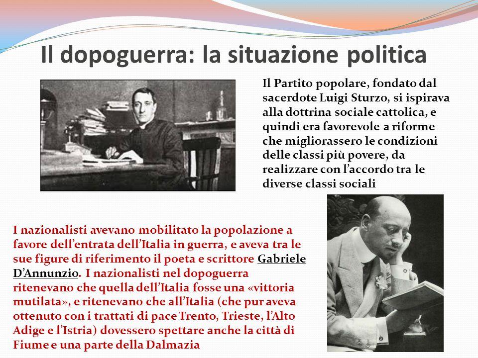 Il dopoguerra: la situazione politica PartitiObiettivi Partito socialistaInstaurazione del socialismo attraverso la rivoluzione (massimalisti) o progressivi miglioramenti delle condizioni dei lavoratori (riformisti) Partito popolareRealizzazione della dottrina sociale cattolica Partito nazionalistaModifica dei trattati a favore dell'Italia, e politica imperialista