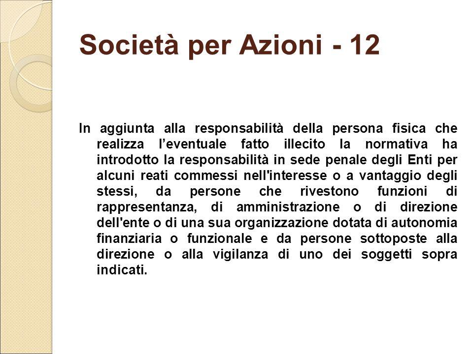Società per Azioni - 12 In aggiunta alla responsabilità della persona fisica che realizza l'eventuale fatto illecito la normativa ha introdotto la res