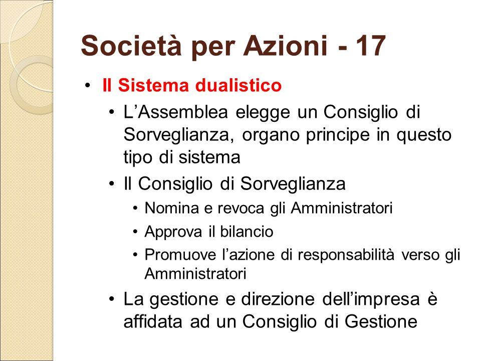 Società per Azioni - 17 Il Sistema dualistico L'Assemblea elegge un Consiglio di Sorveglianza, organo principe in questo tipo di sistema Il Consiglio