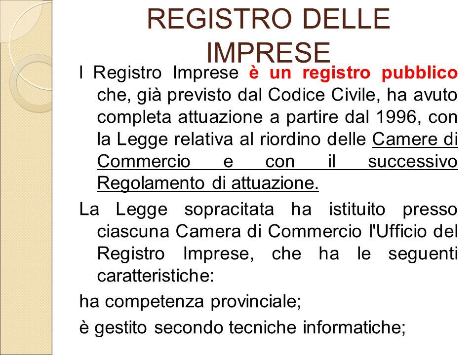 REGISTRO DELLE IMPRESE l Registro Imprese è un registro pubblico che, già previsto dal Codice Civile, ha avuto completa attuazione a partire dal 1996,