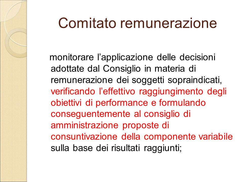 Comitato remunerazione monitorare l'applicazione delle decisioni adottate dal Consiglio in materia di remunerazione dei soggetti sopraindicati, verifi