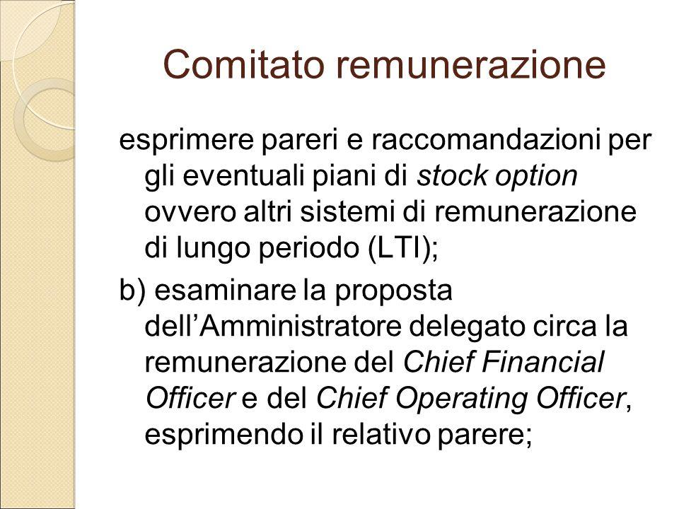Comitato remunerazione esprimere pareri e raccomandazioni per gli eventuali piani di stock option ovvero altri sistemi di remunerazione di lungo perio