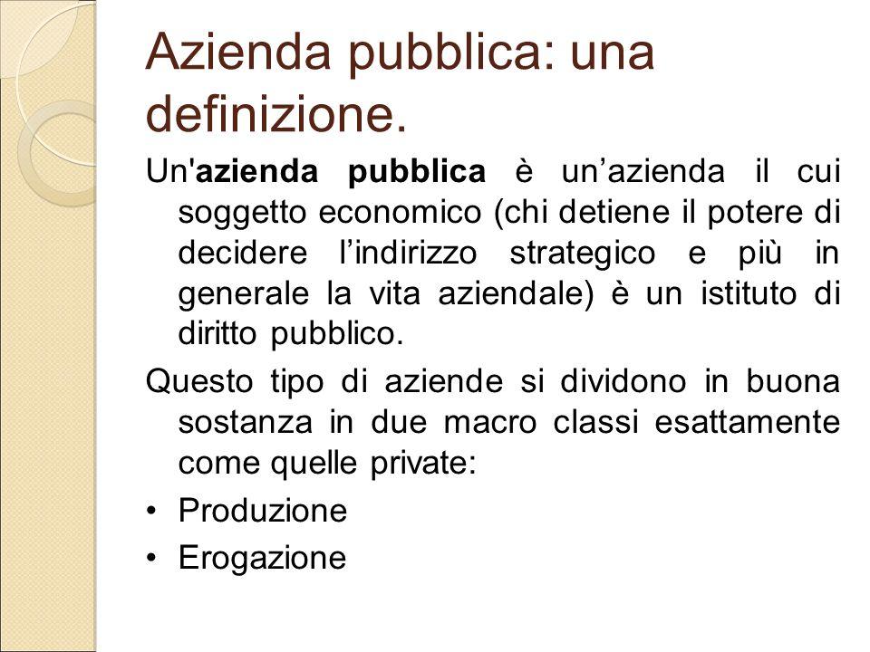 Azienda pubblica: una definizione. Un'azienda pubblica è un'azienda il cui soggetto economico (chi detiene il potere di decidere l'indirizzo strategic