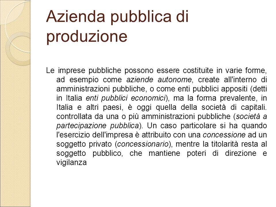 Azienda pubblica di produzione Le imprese pubbliche possono essere costituite in varie forme, ad esempio come aziende autonome, create all'interno di