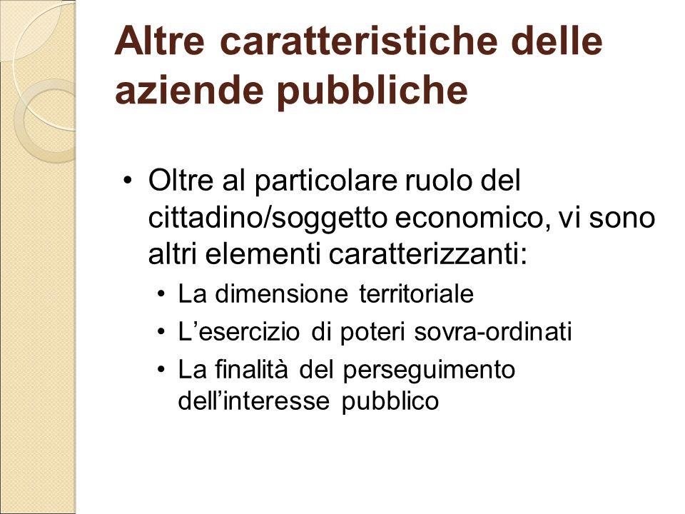 Altre caratteristiche delle aziende pubbliche Oltre al particolare ruolo del cittadino/soggetto economico, vi sono altri elementi caratterizzanti: La