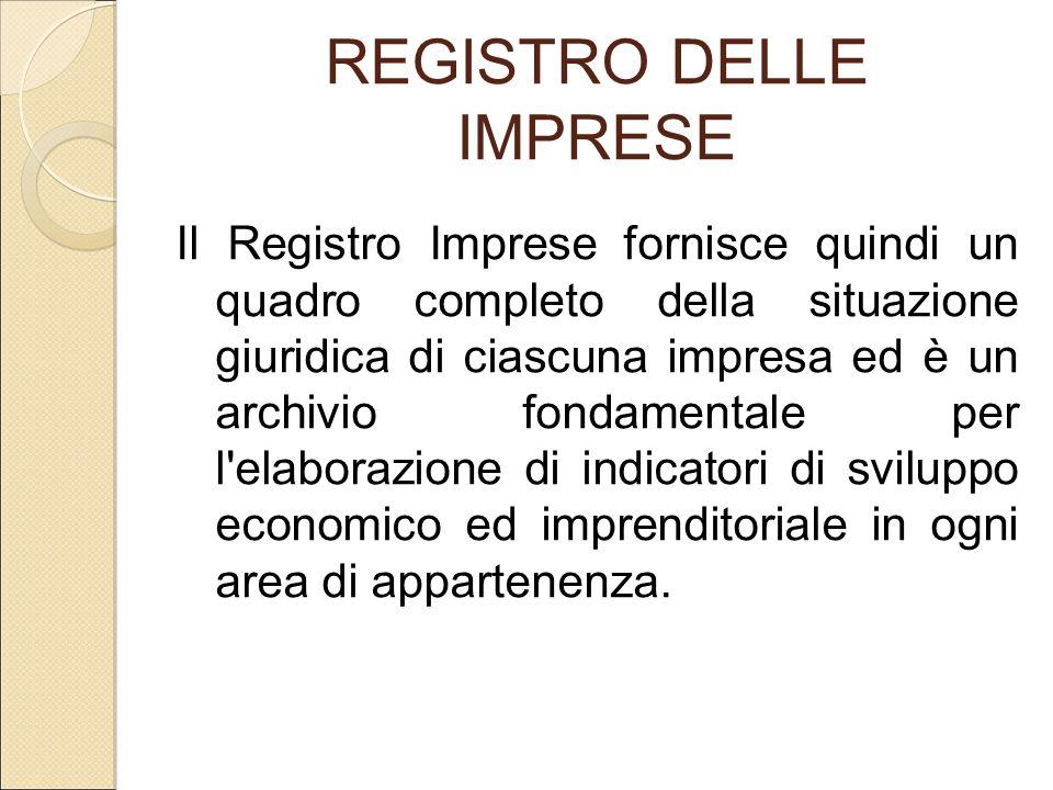 REGISTRO DELLE IMPRESE Il Registro Imprese fornisce quindi un quadro completo della situazione giuridica di ciascuna impresa ed è un archivio fondamen