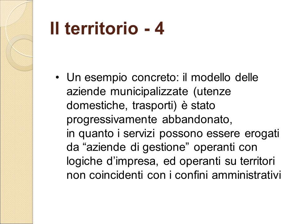 Il territorio - 4 Un esempio concreto: il modello delle aziende municipalizzate (utenze domestiche, trasporti) è stato progressivamente abbandonato, i