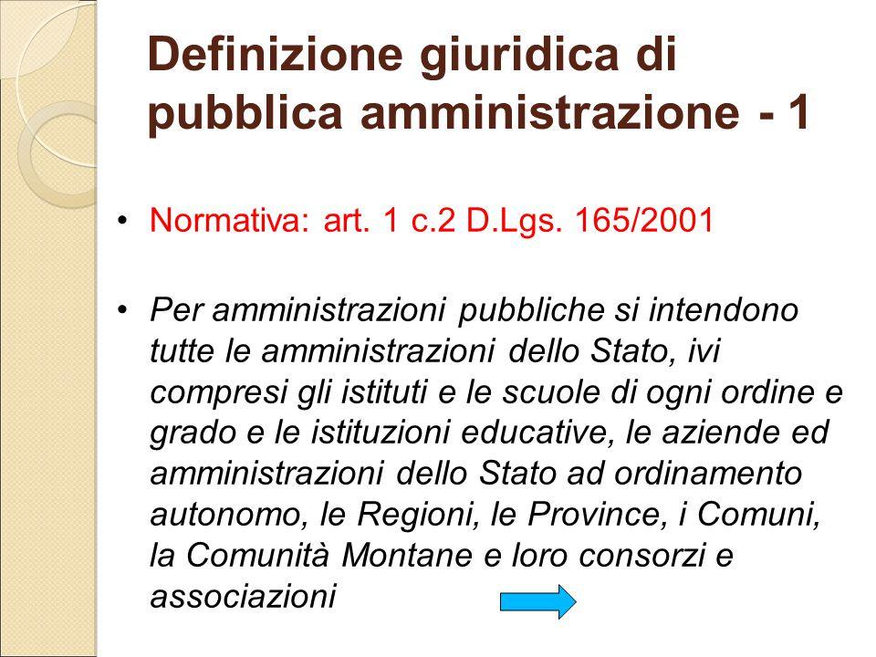Definizione giuridica di pubblica amministrazione - 1 Normativa: art. 1 c.2 D.Lgs. 165/2001 Per amministrazioni pubbliche si intendono tutte le ammini